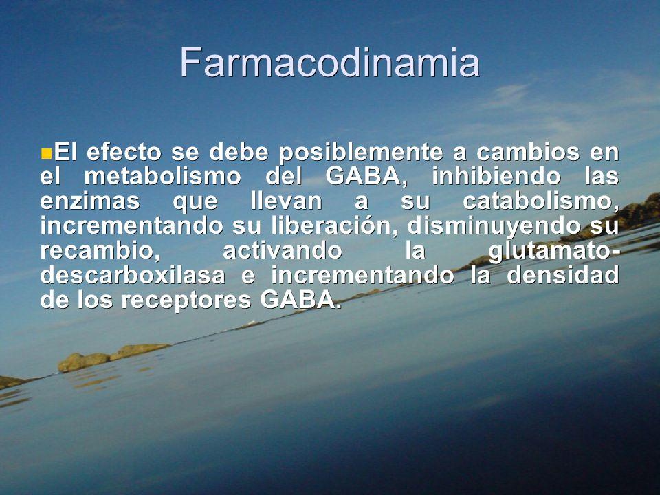 Farmacodinamia El efecto se debe posiblemente a cambios en el metabolismo del GABA, inhibiendo las enzimas que llevan a su catabolismo, incrementando