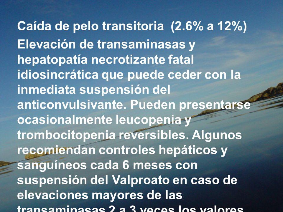 Caída de pelo transitoria (2.6% a 12%) Elevación de transaminasas y hepatopatía necrotizante fatal idiosincrática que puede ceder con la inmediata sus
