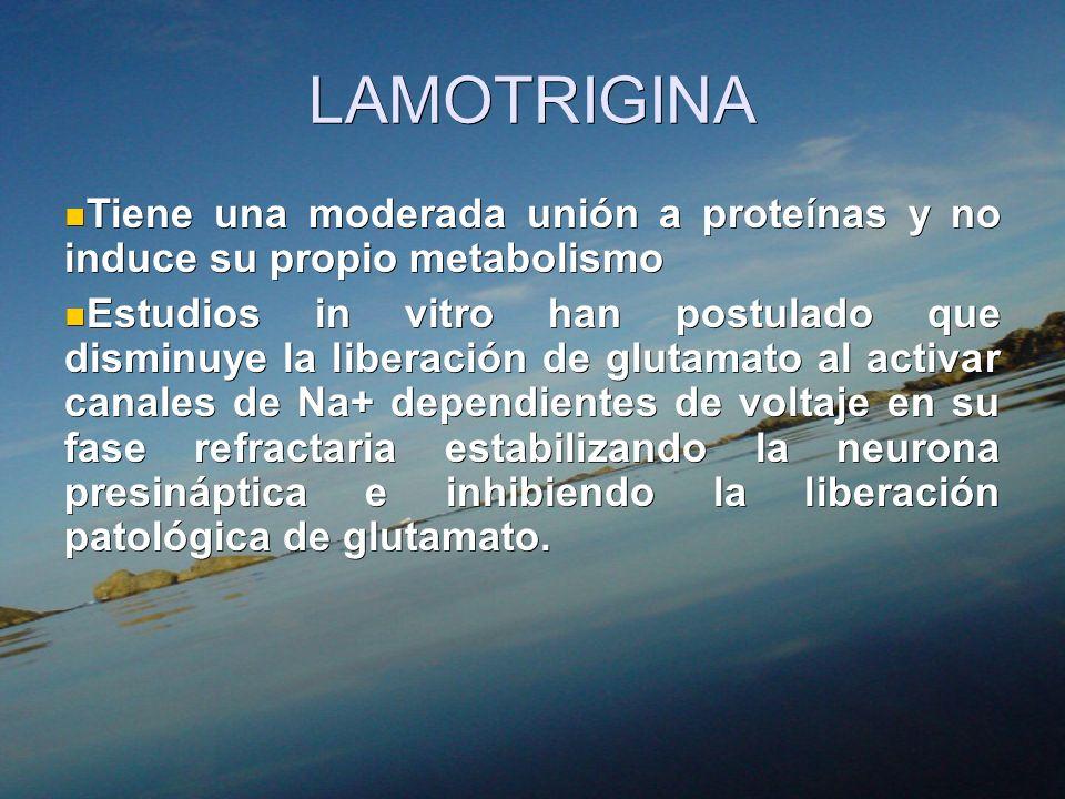 LAMOTRIGINA Tiene una moderada unión a proteínas y no induce su propio metabolismo Tiene una moderada unión a proteínas y no induce su propio metaboli