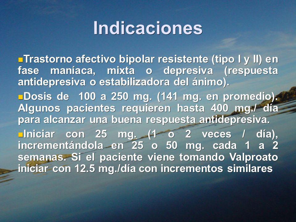 Indicaciones Trastorno afectivo bipolar resistente (tipo I y II) en fase maníaca, mixta o depresiva (respuesta antidepresiva o estabilizadora del ánim