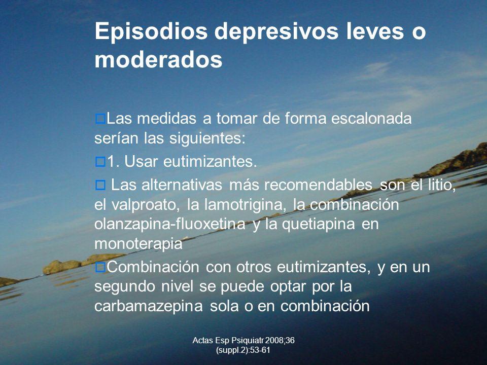 Actas Esp Psiquiatr 2008;36 (suppl.2):53-61 Episodios depresivos leves o moderados Las medidas a tomar de forma escalonada serían las siguientes: 1. U