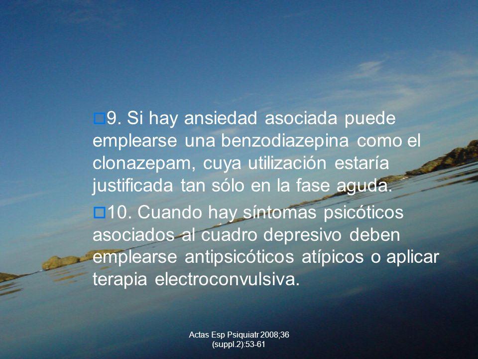 Actas Esp Psiquiatr 2008;36 (suppl.2):53-61 9. Si hay ansiedad asociada puede emplearse una benzodiazepina como el clonazepam, cuya utilización estarí
