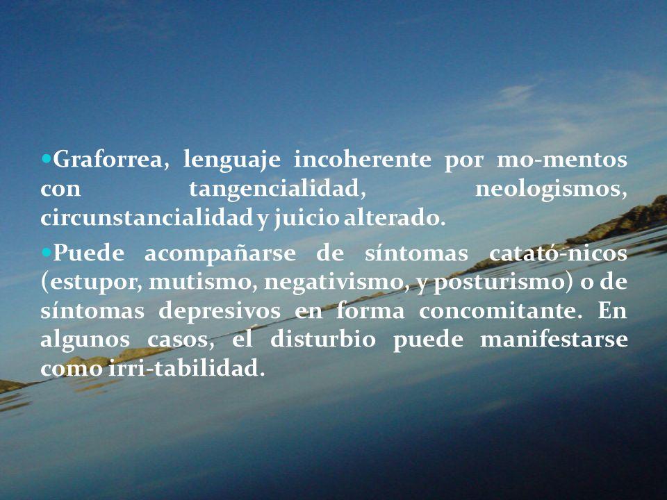 Graforrea, lenguaje incoherente por mo-mentos con tangencialidad, neologismos, circunstancialidad y juicio alterado. Puede acompañarse de síntomas cat