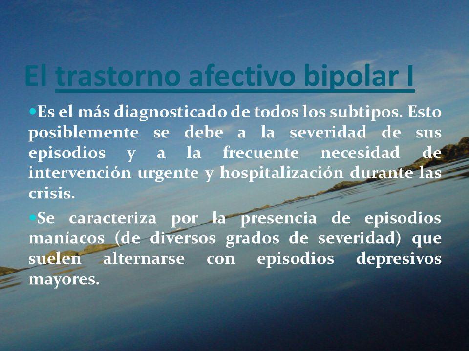 El trastorno afectivo bipolar I Es el más diagnosticado de todos los subtipos. Esto posiblemente se debe a la severidad de sus episodios y a la frecue