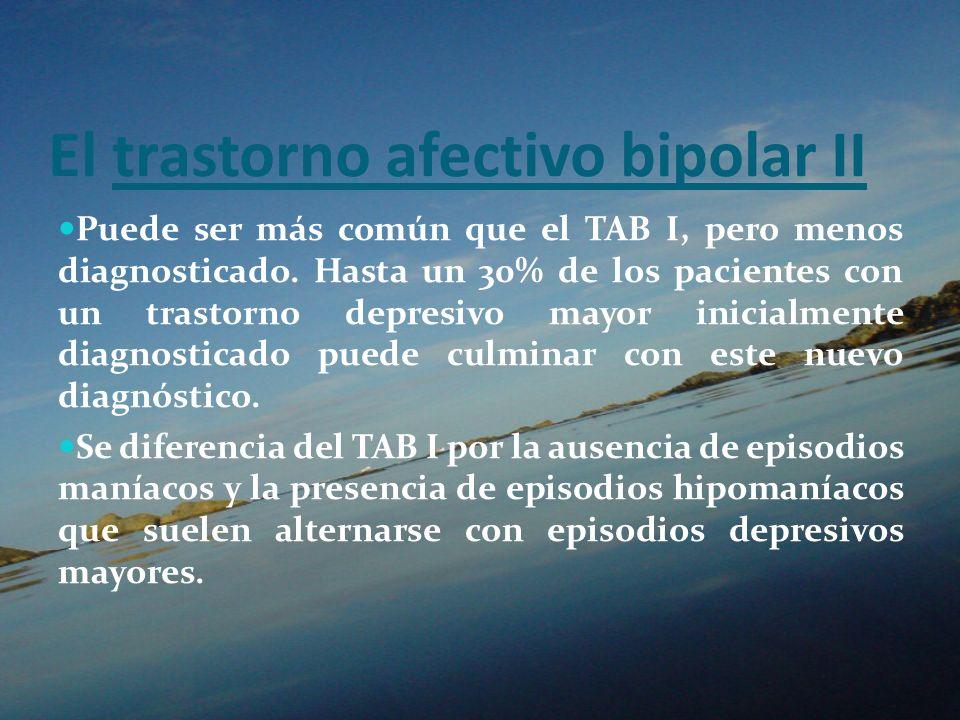 El trastorno afectivo bipolar II Puede ser más común que el TAB I, pero menos diagnosticado. Hasta un 30% de los pacientes con un trastorno depresivo