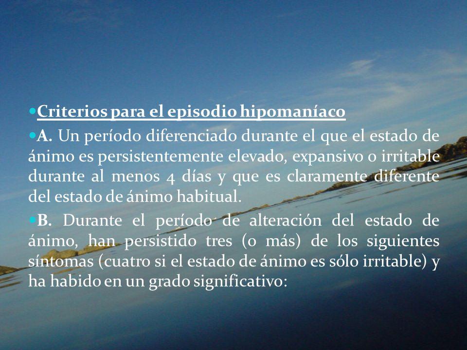Criterios para el episodio hipomaníaco A. Un período diferenciado durante el que el estado de ánimo es persistentemente elevado, expansivo o irritable