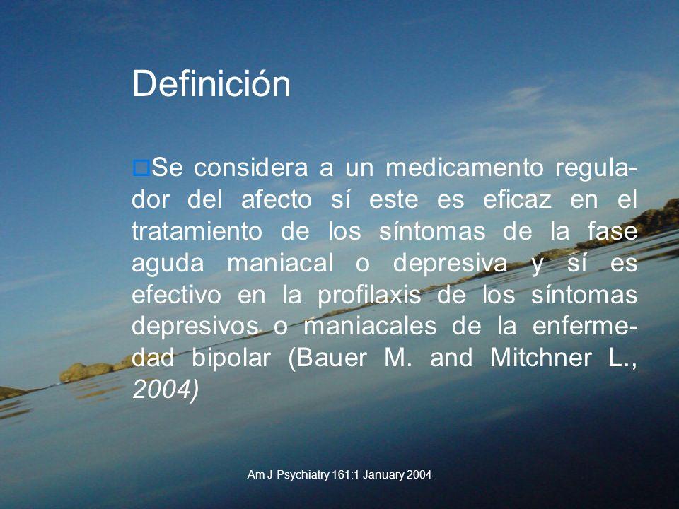Am J Psychiatry 161:1 January 2004 Definición Se considera a un medicamento regula- dor del afecto sí este es eficaz en el tratamiento de los síntomas