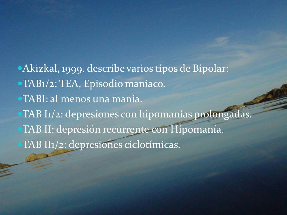Akizkal, 1999. describe varios tipos de Bipolar: TAB1/2: TEA, Episodio maniaco. TABI: al menos una manía. TAB I1/2: depresiones con hipomanías prolong