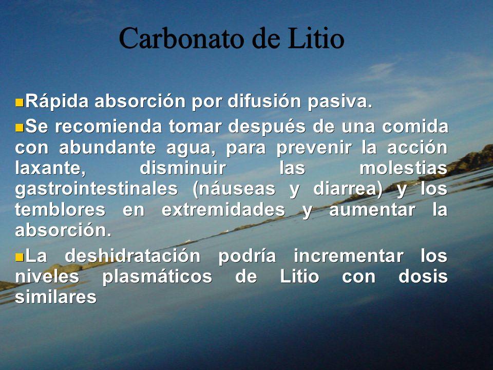 Carbonato de Litio Rápida absorción por difusión pasiva. Rápida absorción por difusión pasiva. Se recomienda tomar después de una comida con abundante
