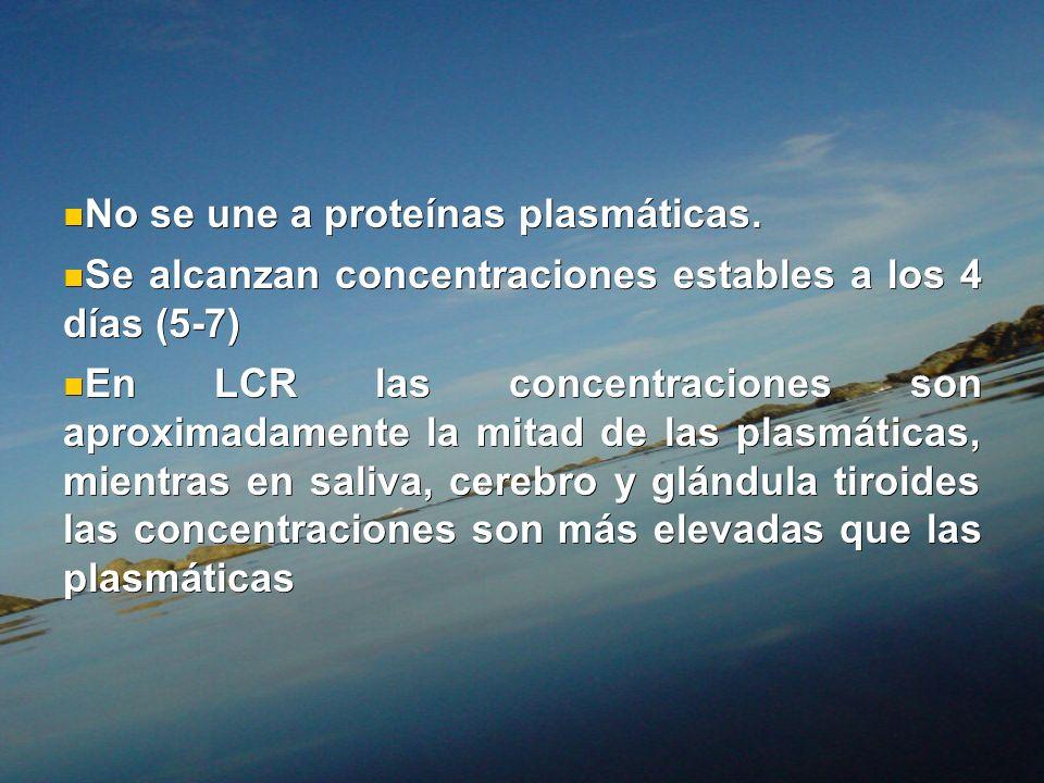 No se une a proteínas plasmáticas. No se une a proteínas plasmáticas. Se alcanzan concentraciones estables a los 4 días (5-7) Se alcanzan concentracio
