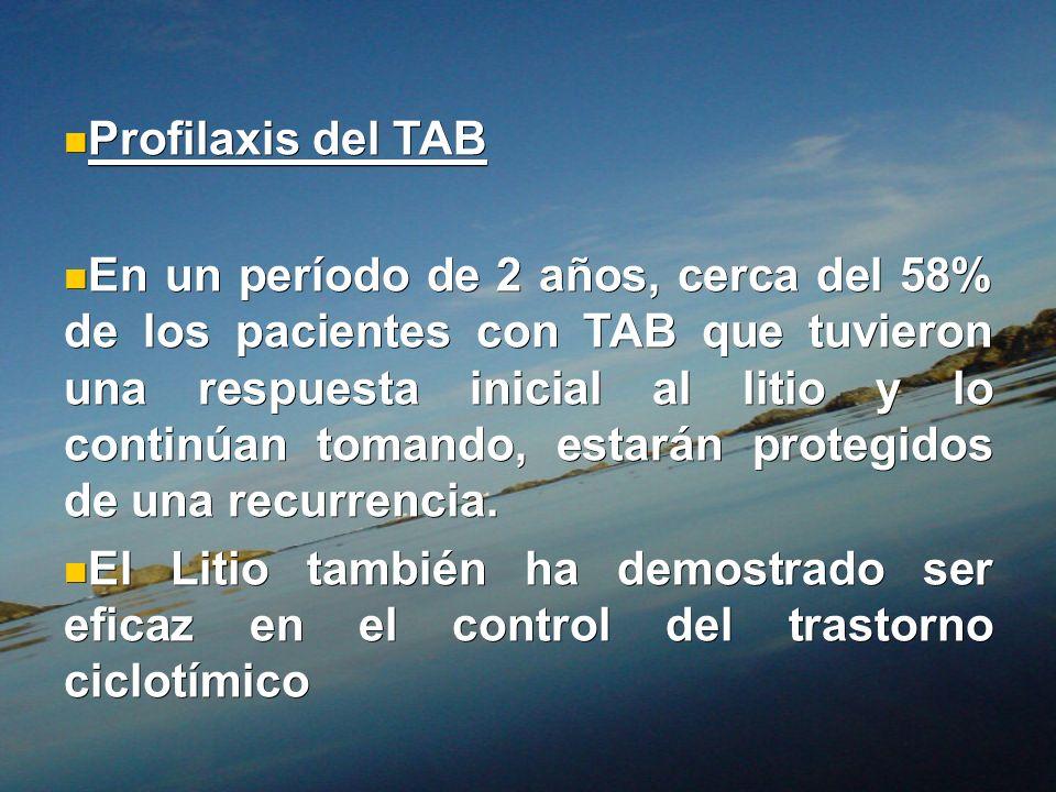 Profilaxis del TAB Profilaxis del TAB En un período de 2 años, cerca del 58% de los pacientes con TAB que tuvieron una respuesta inicial al litio y lo