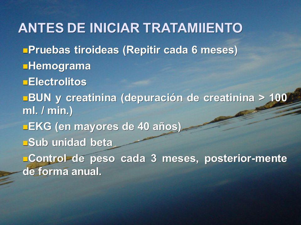 ANTES DE INICIAR TRATAMIIENTO Pruebas tiroideas (Repitir cada 6 meses) Pruebas tiroideas (Repitir cada 6 meses) Hemograma Hemograma Electrolitos Elect