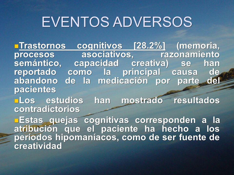 EVENTOS ADVERSOS Trastornos cognitivos [28.2%] (memoria, procesos asociativos, razonamiento semántico, capacidad creativa) se han reportado como la pr