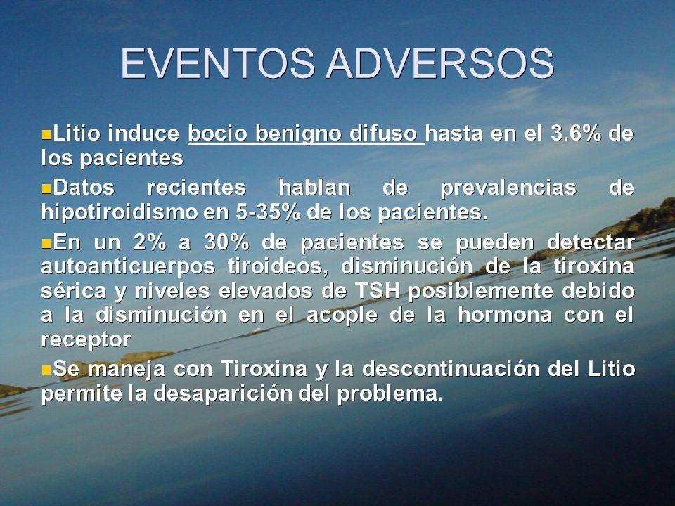 EVENTOS ADVERSOS Litio induce bocio benigno difuso hasta en el 3.6% de los pacientes Litio induce bocio benigno difuso hasta en el 3.6% de los pacient
