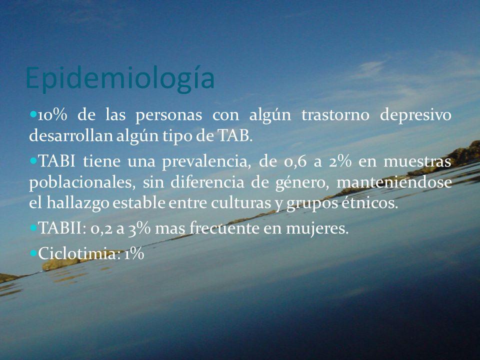 Epidemiología 10% de las personas con algún trastorno depresivo desarrollan algún tipo de TAB. TABI tiene una prevalencia, de 0,6 a 2% en muestras pob