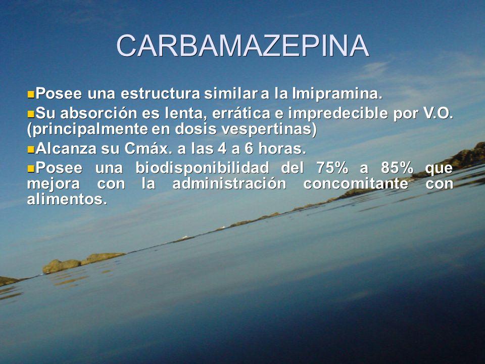 CARBAMAZEPINA Posee una estructura similar a la Imipramina. Posee una estructura similar a la Imipramina. Su absorción es lenta, errática e impredecib