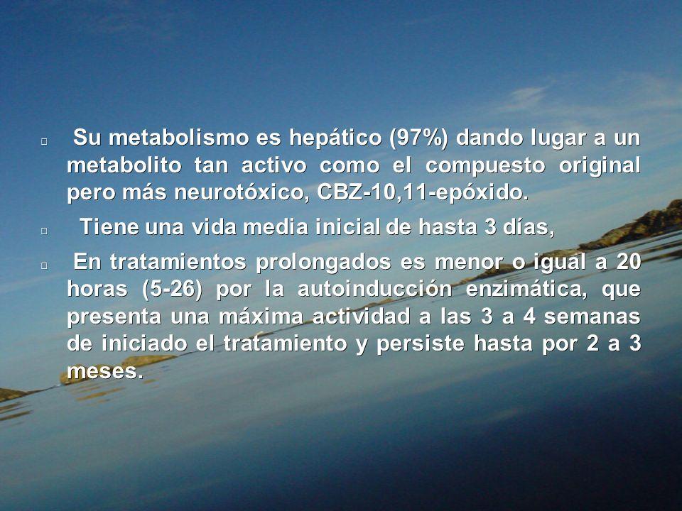 Su metabolismo es hepático (97%) dando lugar a un metabolito tan activo como el compuesto original pero más neurotóxico, CBZ-10,11-epóxido. Su metabol