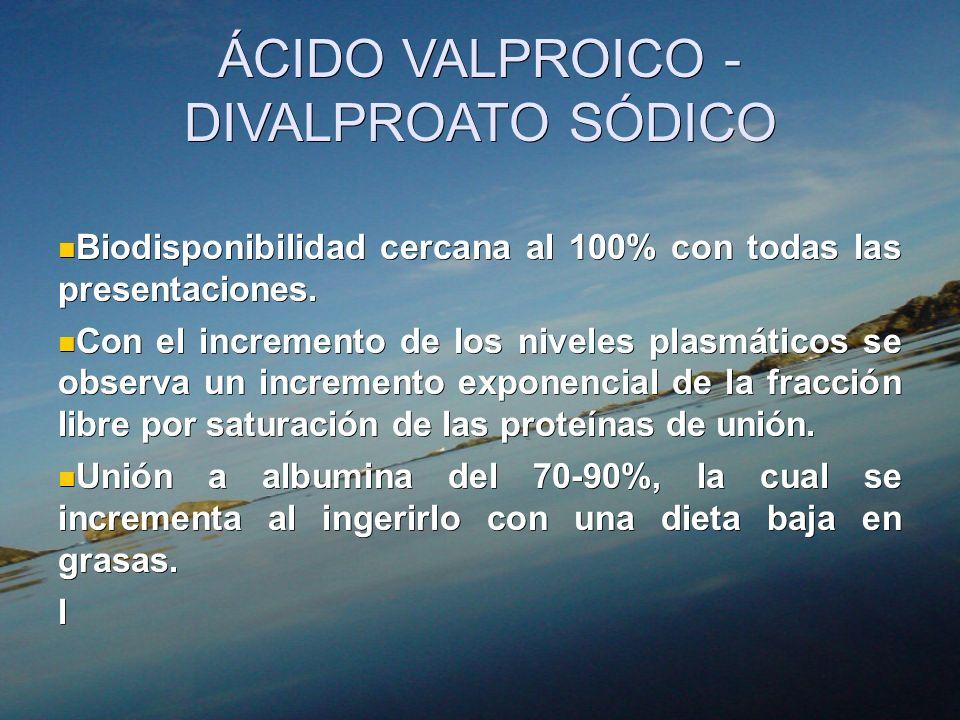 ÁCIDO VALPROICO - DIVALPROATO SÓDICO Biodisponibilidad cercana al 100% con todas las presentaciones. Biodisponibilidad cercana al 100% con todas las p