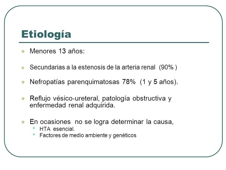 Etiología Menores 13 años: Secundarias a la estenosis de la arteria renal (90% ) Nefropatías parenquimatosas 78% (1 y 5 años). Reflujo vésico-ureteral