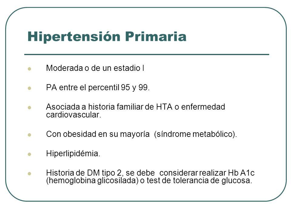 Hipertensión Primaria Moderada o de un estadio I PA entre el percentil 95 y 99. Asociada a historia familiar de HTA o enfermedad cardiovascular. Con o