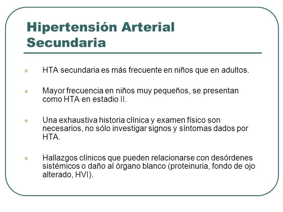 Hipertensión Arterial Secundaria HTA secundaria es más frecuente en niños que en adultos. Mayor frecuencia en niños muy pequeños, se presentan como HT