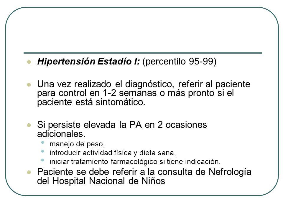 Hipertensión Estadío I: (percentilo 95-99) Una vez realizado el diagnóstico, referir al paciente para control en 1-2 semanas o más pronto si el pacien
