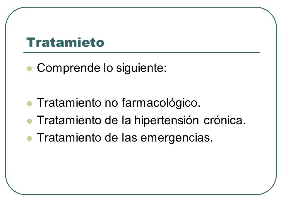 Tratamieto Comprende lo siguiente: Tratamiento no farmacológico. Tratamiento de la hipertensión crónica. Tratamiento de las emergencias.
