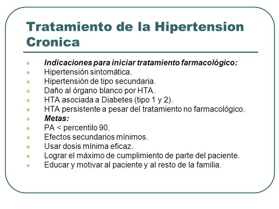 Tratamiento de la Hipertension Cronica Indicaciones para iniciar tratamiento farmacológico: Hipertensión sintomática. Hipertensión de tipo secundaria.