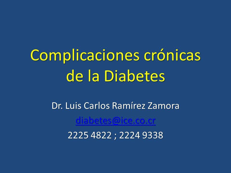 Complicaciones crónicas de la Diabetes Dr. Luis Carlos Ramírez Zamora diabetes@ice.co.cr 2225 4822 ; 2224 9338