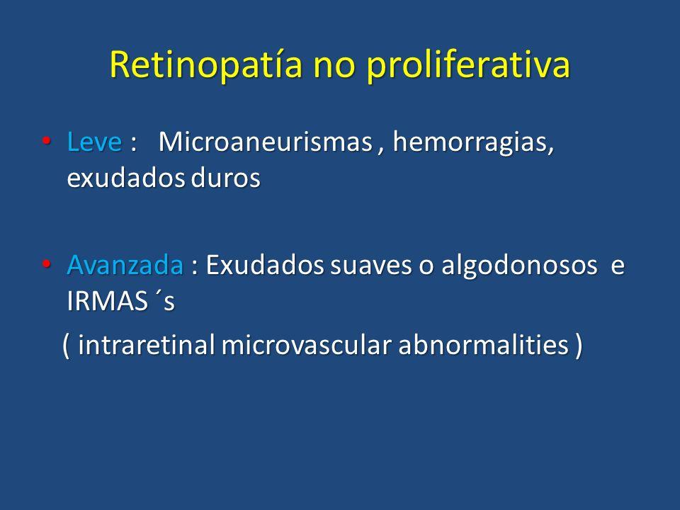 Retinopatía no proliferativa Leve : Microaneurismas, hemorragias, exudados duros Leve : Microaneurismas, hemorragias, exudados duros Avanzada : Exudad