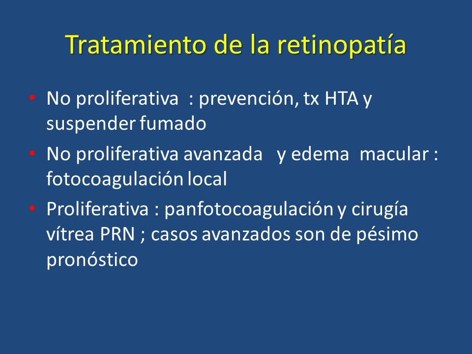 Tratamiento de la retinopatía No proliferativa : prevención, tx HTA y suspender fumado No proliferativa avanzada y edema macular : fotocoagulación loc