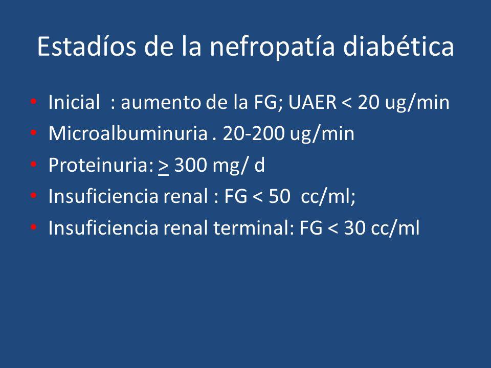 Estadíos de la nefropatía diabética Inicial : aumento de la FG; UAER < 20 ug/min Microalbuminuria. 20-200 ug/min Proteinuria: > 300 mg/ d Insuficienci