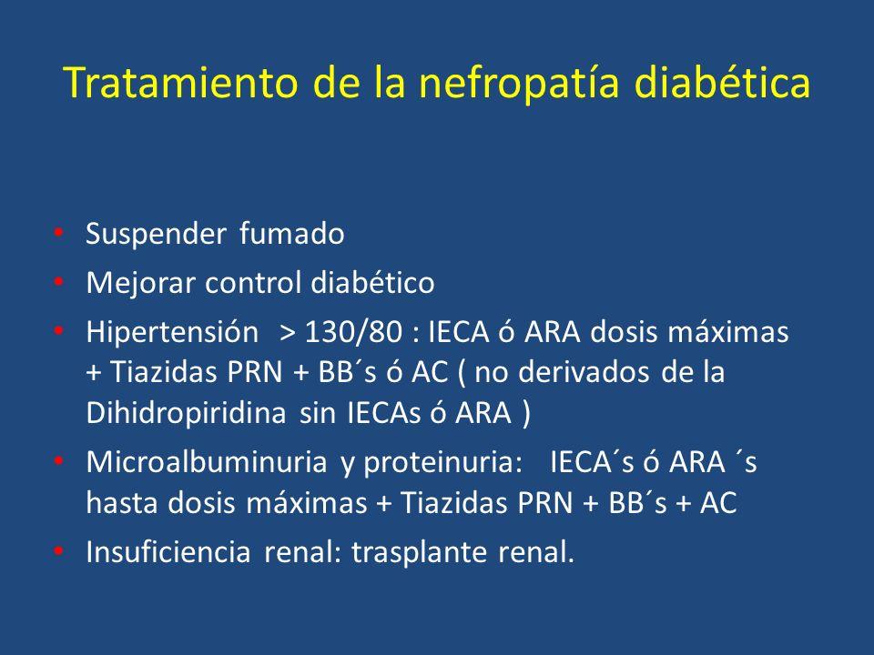 Tratamiento de la nefropatía diabética Suspender fumado Mejorar control diabético Hipertensión > 130/80 : IECA ó ARA dosis máximas + Tiazidas PRN + BB