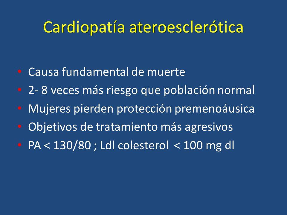 Cardiopatía ateroesclerótica Causa fundamental de muerte 2- 8 veces más riesgo que población normal Mujeres pierden protección premenoáusica Objetivos