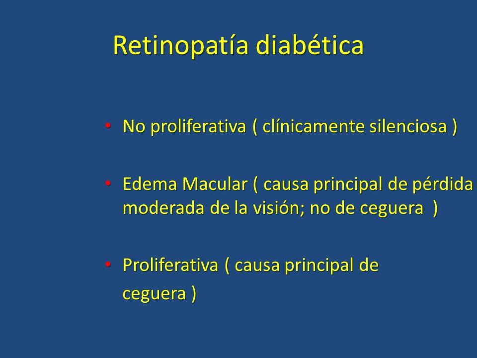 Retinopatía diabética No proliferativa ( clínicamente silenciosa ) No proliferativa ( clínicamente silenciosa ) Edema Macular ( causa principal de pér