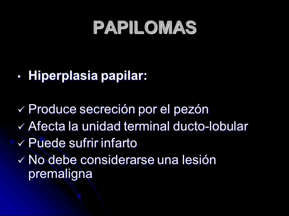 PAPILOMAS Hiperplasia papilar: Hiperplasia papilar: Produce secreción por el pezón Produce secreción por el pezón Afecta la unidad terminal ducto-lobular Afecta la unidad terminal ducto-lobular Puede sufrir infarto Puede sufrir infarto No debe considerarse una lesión premaligna No debe considerarse una lesión premaligna