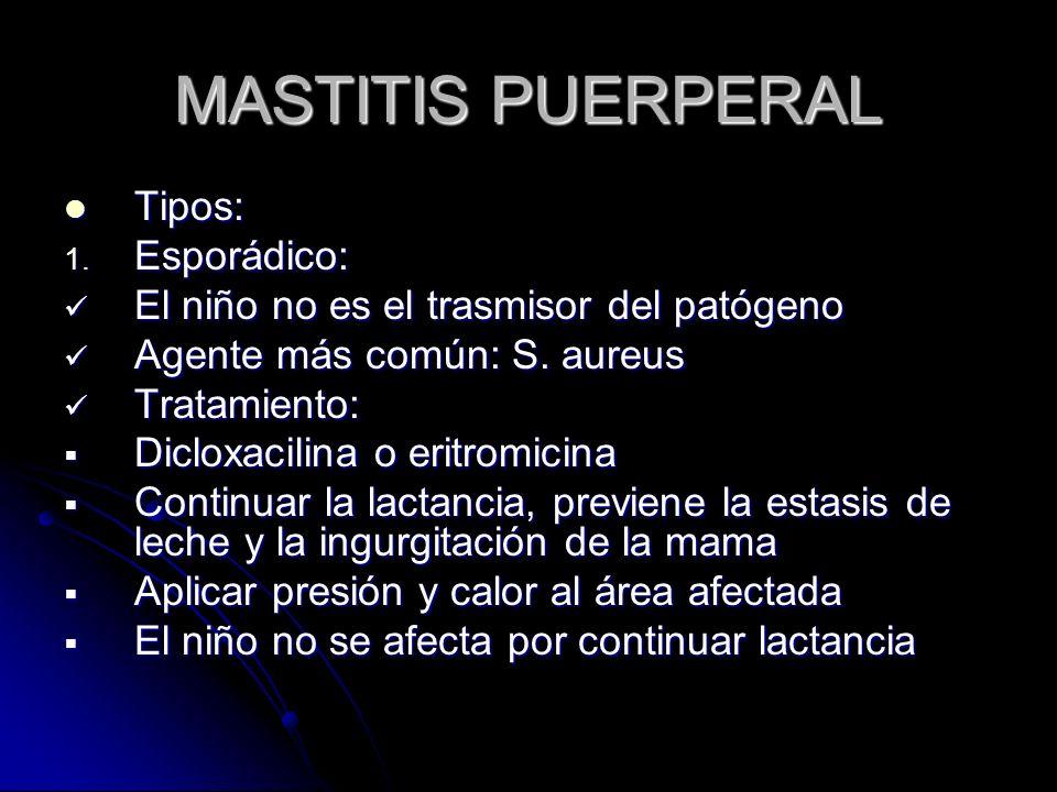 MASTITIS PUERPERAL Tipos: Tipos: 1.