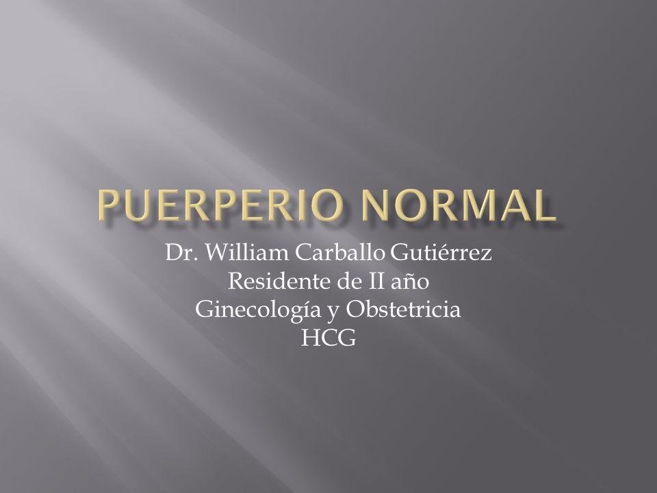 Dr. William Carballo Gutiérrez Residente de II año Ginecología y Obstetricia HCG