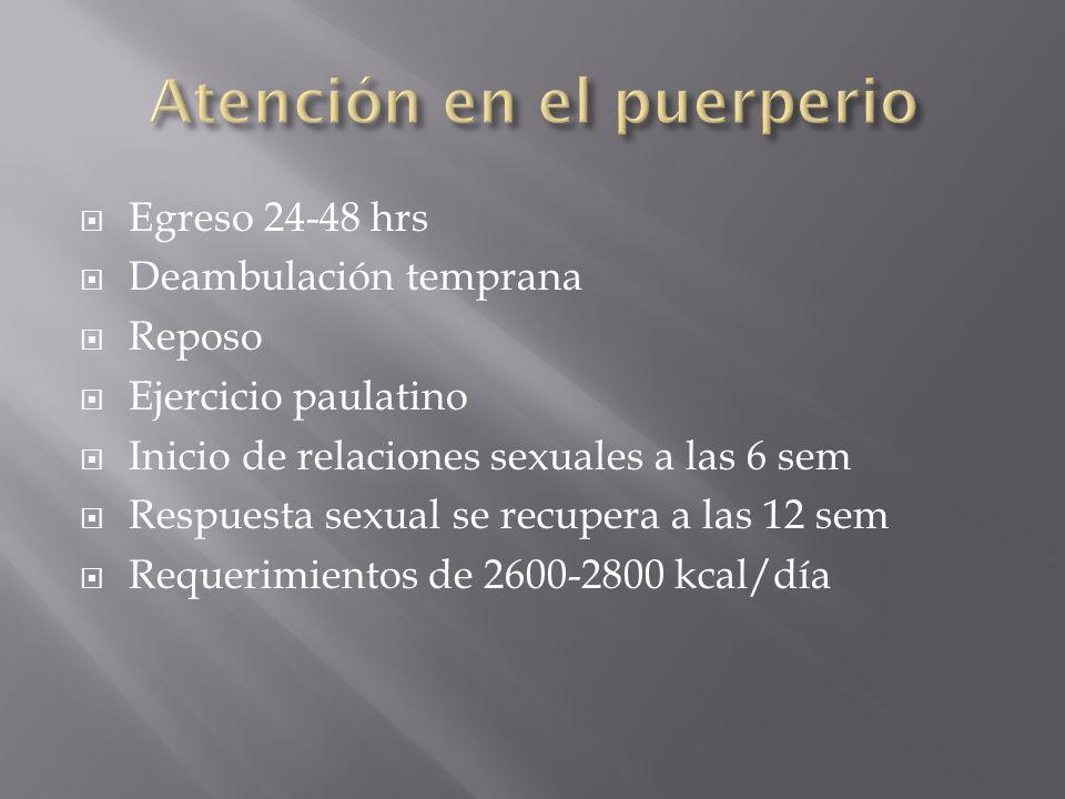 Egreso 24-48 hrs Deambulación temprana Reposo Ejercicio paulatino Inicio de relaciones sexuales a las 6 sem Respuesta sexual se recupera a las 12 sem