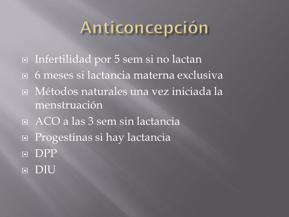 Infertilidad por 5 sem si no lactan 6 meses si lactancia materna exclusiva Métodos naturales una vez iniciada la menstruación ACO a las 3 sem sin lact