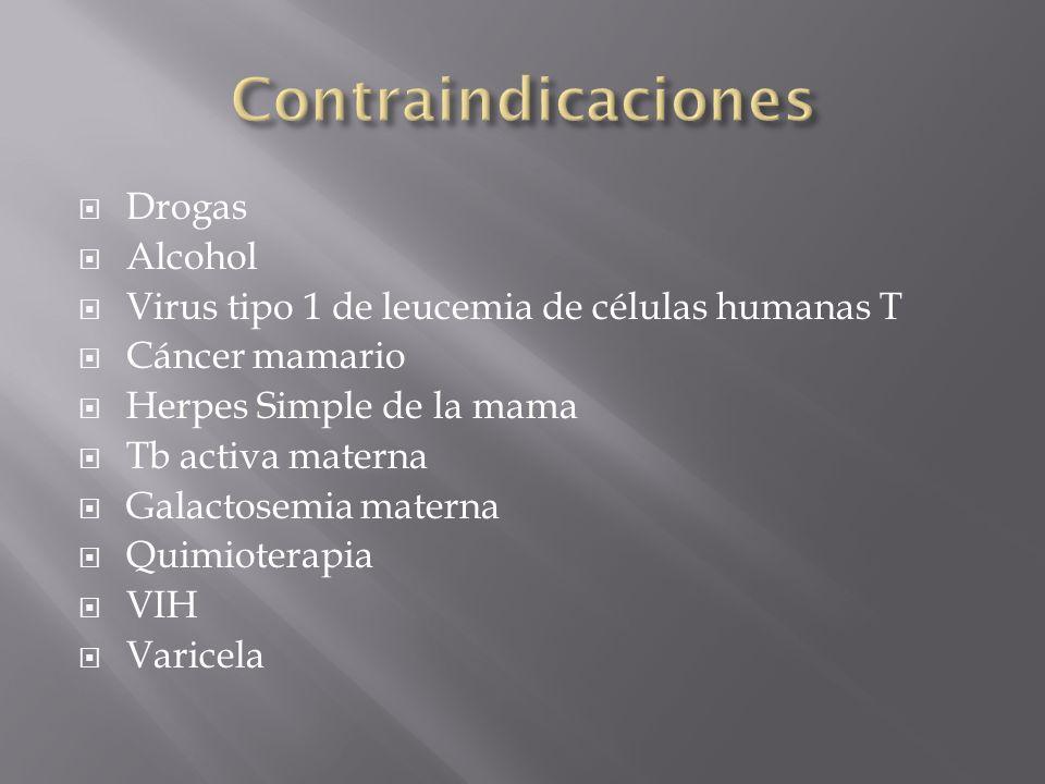 Drogas Alcohol Virus tipo 1 de leucemia de células humanas T Cáncer mamario Herpes Simple de la mama Tb activa materna Galactosemia materna Quimiotera