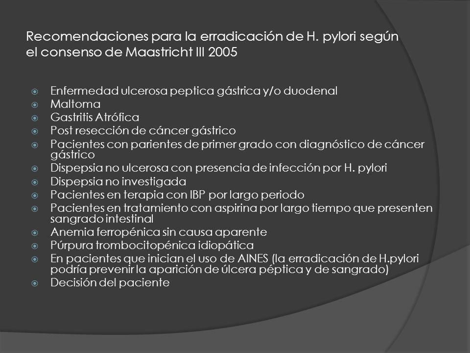 Recomendaciones para la erradicación de H. pylori según el consenso de Maastricht III 2005 Enfermedad ulcerosa peptica gástrica y/o duodenal Maltoma G