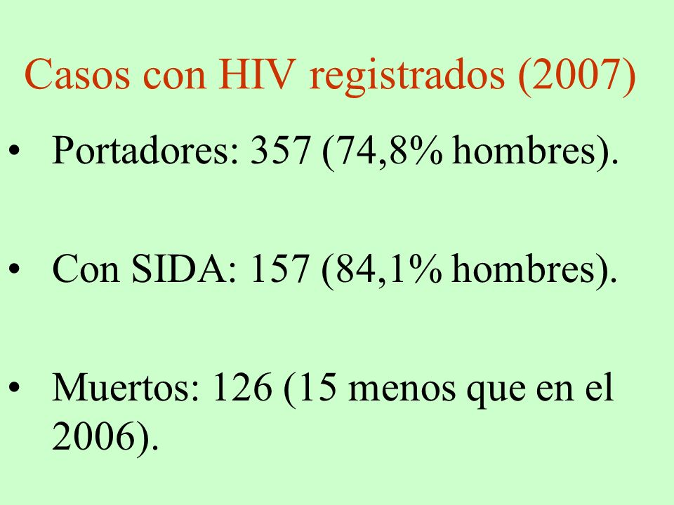 Casos con HIV registrados (2007) Portadores: 357 (74,8% hombres). Con SIDA: 157 (84,1% hombres). Muertos: 126 (15 menos que en el 2006).