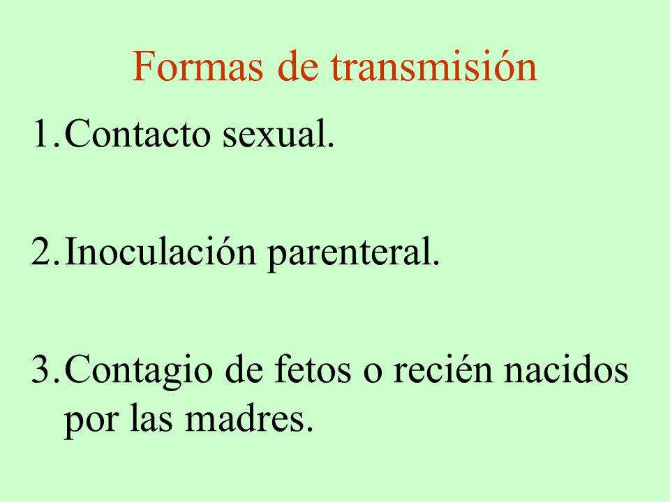 Formas de transmisión 1.Contacto sexual. 2.Inoculación parenteral. 3.Contagio de fetos o recién nacidos por las madres.