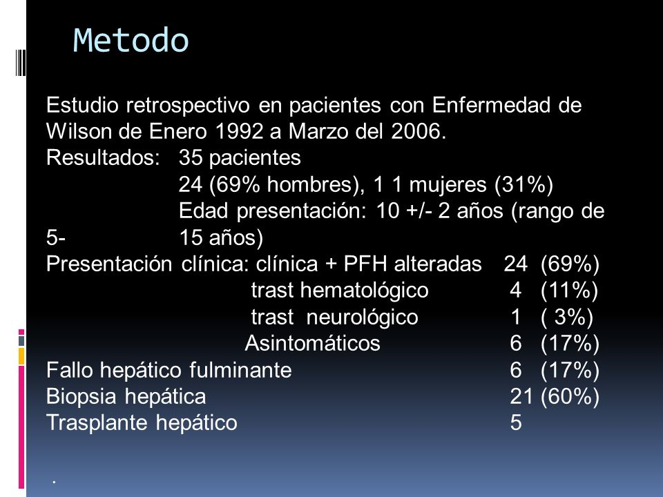 Metodo Estudio retrospectivo en pacientes con Enfermedad de Wilson de Enero 1992 a Marzo del 2006. Resultados: 35 pacientes 24 (69% hombres), 1 1 muje
