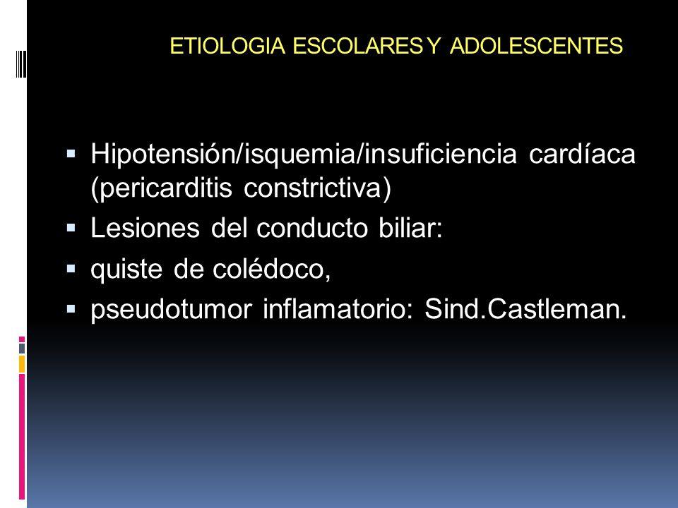 ETIOLOGIA ESCOLARES Y ADOLESCENTES Hipotensión/isquemia/insuficiencia cardíaca (pericarditis constrictiva) Lesiones del conducto biliar: quiste de col