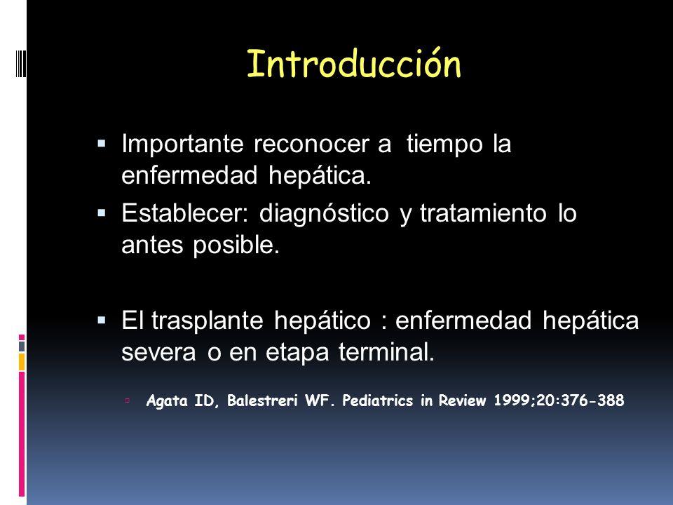 Introducción Importante reconocer a tiempo la enfermedad hepática. Establecer: diagnóstico y tratamiento lo antes posible. El trasplante hepático : en