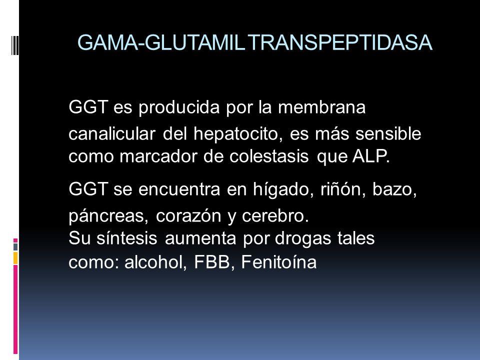 GAMA-GLUTAMIL TRANSPEPTIDASA GGT es producida por la membrana canalicular del hepatocito, es más sensible como marcador de colestasis que ALP. GGT se