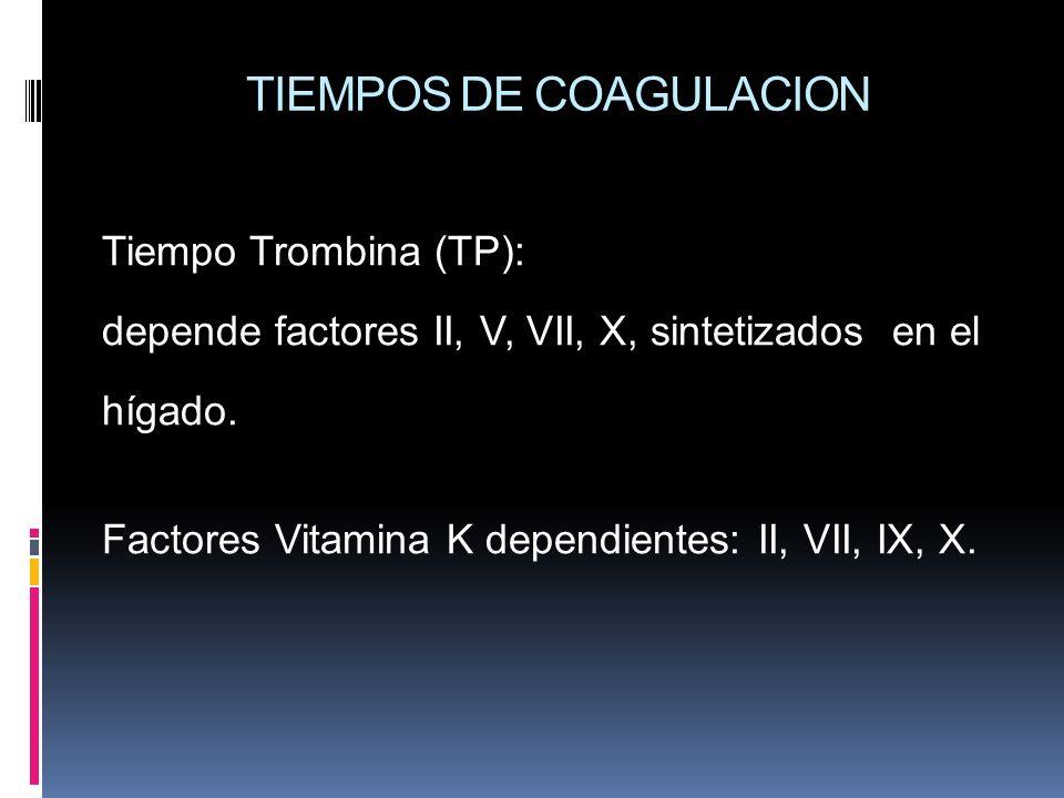 TIEMPOS DE COAGULACION Tiempo Trombina (TP): depende factores II, V, VII, X, sintetizados en el hígado. Factores Vitamina K dependientes: II, VII, IX,