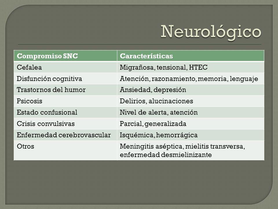 Compromiso SNCCaracterísticas CefaleaMigrañosa, tensional, HTEC Disfunción cognitivaAtención, razonamiento, memoria, lenguaje Trastornos del humorAnsi